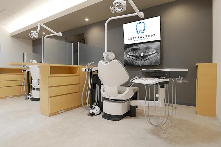診療室は車いすやベビーカーのまま入れるほど十分なスペースをとっています。圧迫感や緊張感を感じないように広々としていますので、リラックスして治療を受けていただけます。